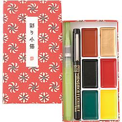 Kuretake Irodori Kobako Water Colours Starter Set - Rood