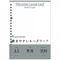 Maruman Loose Leaf Ringbandvulling - A5 - Blanco - 20 Rings - 100 Pagina's
