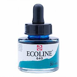Talens Ecoline Vloeibare Waterverf Inkt - 30 ml - 640 Blueish Green (Blauwgroen)