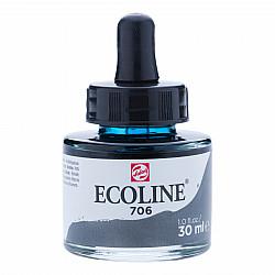 Talens Ecoline Vloeibare Waterverf Inkt - 30 ml - 706 Deep Grey (Donkergrijs)