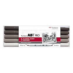 Tombow ABT PRO Alcohol Marker - Warm Grey Colours - Set van 5