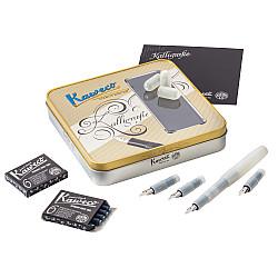 Kaweco Sport Calligraphy Pen Set - Metalen Doos - 4 Penpunten - Natural Coconut