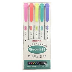 Zebra Mildliner Double Sided Tekstmarker - Fine & Bold - Bright Colors - Set van 5
