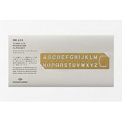 TRAVELER'S Company Solid Brass Template Bookmark Sjabloon - Alfabet
