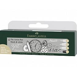 Faber-Castell Pitt Artist Pen - Black & White - Set van 4