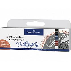 Faber-Castell Pitt Artist Pen - C (Calligraphy) - Set van 4 (Basic kleuren)