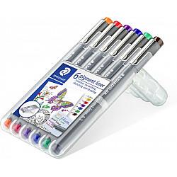 Staedtler Pigment Liner 308 Fineliner - 0.3 mm - 6 Kleuren