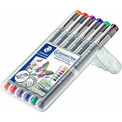Staedtler Pigment Liner 308 Fineliner - 0.5 mm - 6 Kleuren