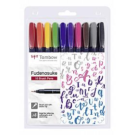 Tombow Fudenosuke Brush Pen - Hard - Set van 10