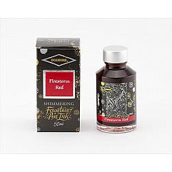 Diamine Shimmering Vulpen Inkt - 50 ml - Firestorm Red