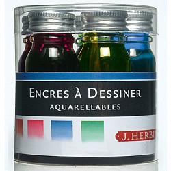 J. Herbin Set van 5 Kleine Aquarel Inktpotjes