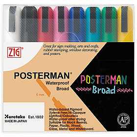 Kuretake ZIG Posterman Sign Chalkmarker - Beitel - Set van 8