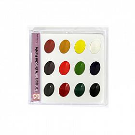 Kuretake Transparent Water Color Palette - 12 kleuren