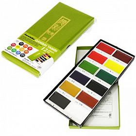 Kuretake Gansai Tambi Water Colours Brush Set - 12 kleuren