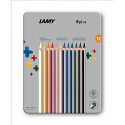 LAMY 4plus Dik Kleurpotlood - Set van 12 in Metalen Bewaardoos