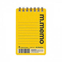 Maruman m.memo Mini Notitieboekje - A7 - Gelinieerd - 50 pagina's - Geel
