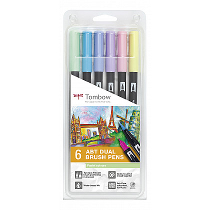 Tombow Dual Brush ABT (Set van 6) - Pastels